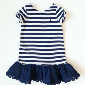 Ralph Lauren navy & white striped ruffle dress
